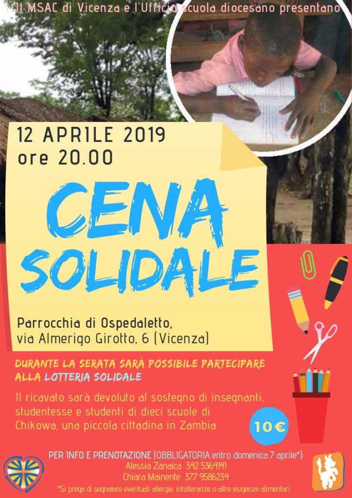 cena solidale msac 12 aprile 2019
